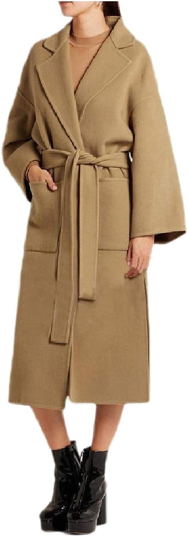 Winme Women's Brumal Maxi Split Cashmere Wool Blended Classic Pea Coat