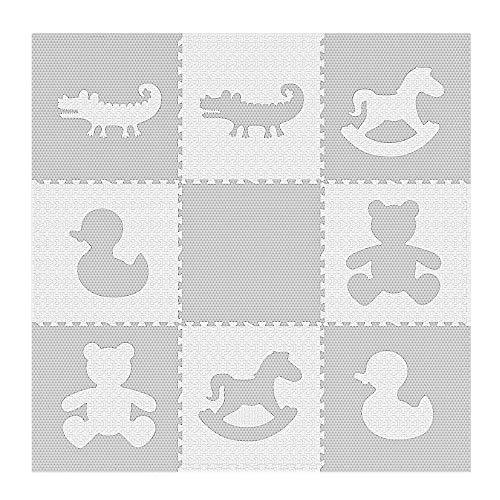 "Extra Large Textured Jumbo Size 73"" x 73"" Puzzle Play Mat EVA Foam Non-Toxic Waterproof Interlocking Tiles Exercise & Learn Modern Style - Grey/White"