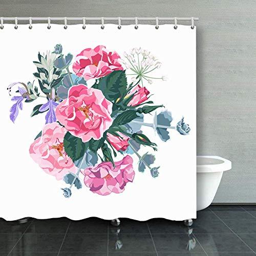 BGNHG Cortina de la Ducha Shower Curtain Wild Rose Rosa Canina Dog Ros