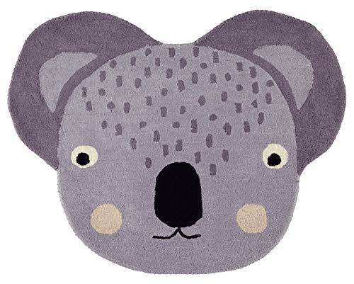 OYOY Mini Koala Rug - Runder Kinderzimmer Teppich Koala Kopf - Kinder Spielteppich für Jungen und Mädchen - 100 x 75 cm aus einem Wolle Baumwolle Mix
