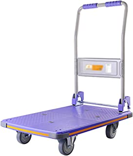 Folding A Flat Pull Cart, Warehouse Handling Trailer Household Silent Trolley Hotel Trolley Size 73 * 47 * 88CM (Color : Blue, Size : 90 * 60 * 90CM)