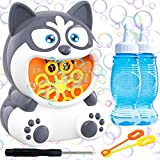 HAJACK Bubble Machine, Bubble Blower for Kids& Toddlers, 1000+ Bubbles per Min, Automatic Husky Dog Bubble Maker Toy with 2 Bottles of Bubble Solution& 2 Bubble Wands for Wedding& Outdoors& Parties