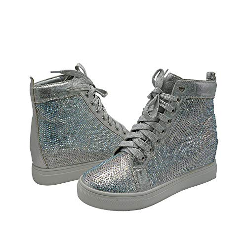 Z.Emma Womens Rhinestone Hidden Heel Platform Fashion Sneaker High Top Lace Up Sequined Ankle High Bootie HN09 Silver 7