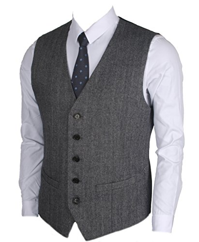 Ruth&Boaz 2Pockets 5Buttons Wool Herringbone Tweed Business Suit Vest (M, Herringbone Navy)
