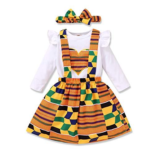 Infant Toddler Baby Girls African Kente Skirt Set Heart Print Shirt Top + Kente Girls Dress + Bow Headband Outfit Set 3Pcs (White 04, 18-24 Months)