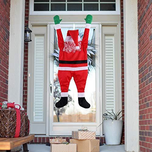 Sirozi Christmas Hanging Santa Claus, Outdoor Realistic Santa Claus Climbing Hanging Decoration Suit Xmas Roof Gutter Yard Decor