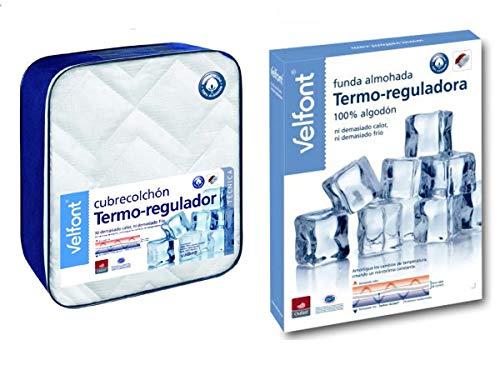 Velfont Pack Termorregulador Outlast Incluye Cubrecolchón + Funda/s de Almohada (Cama 90cm)