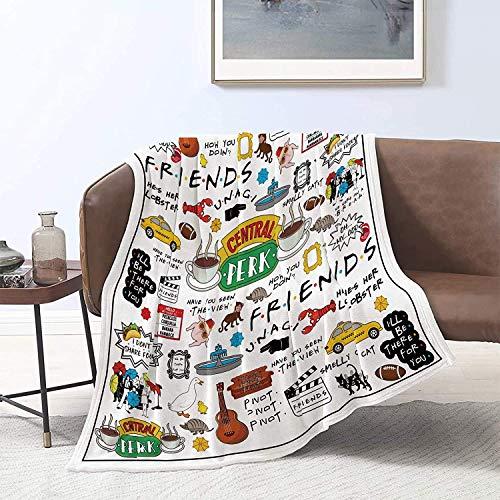 Manta de franela para sofá o cama, 150 x 150 cm, de Friends TV, suave, acogedora, ligera, de tela de felpa, color blanco