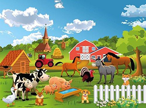 VLIES Fototapete-BAUERNHOF-250x186 cm-5 Bahnen-(16071)-Inkl. Kleister-EASYINSTALL-PREMIUM-Kinder-Zimmer Tiere Pferde Kühe Huhn Schweine Esel Zoo Hund Hase Katze Natur Landschaft Stall Bäume