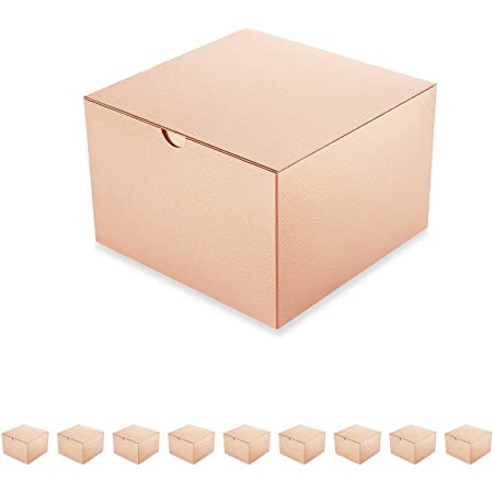 PACKQUEEN 10 Gift Boxes with Lids 6x6x4 Inches,Champagne Gold Bridesmaids Proposal Boxes, Paper Gift Boxes for Gifts, Cupcake Boxes Package, Glossy Champagne Gold, Textured Finish