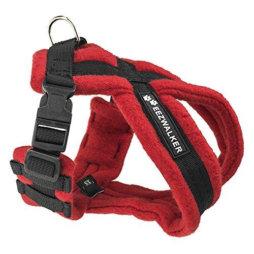 EEZWALKER Dog Harness, Large Adjustable No-Pull Gentle Walker for Comfortable Pet Control - Red Fleece