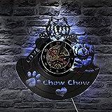 LYU-oag Chow Chow Chien Disque Vinyle Horloge Murale Tenture Art Décoration De La Chambre Beau...