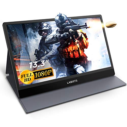 Portable Monitor Display 13.3 Inch, LABISTS Full HD 1080P Computer Display USB Type-C Gaming Monitor with HDMI IPS Screen Dual Speakers Leather Case for Laptop PC MAC Phone PS4 Xbox