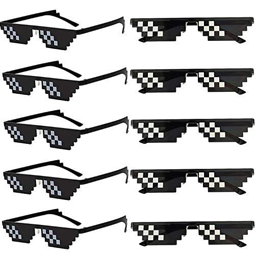FSMILING 10 Pack Thug Life Brille, Pixel Mosaik Gamer Mlg Party Sonnenbrille,Coole 8 Bit Pixelated Lustige Brillen Für Erwachsene Und Kinder,Schwarz