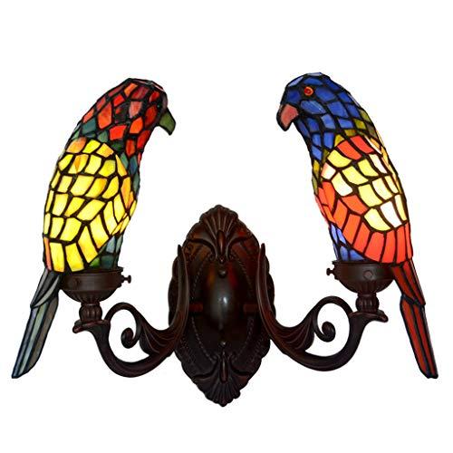 li@ Lámpara de pared de estilo Tiffany de doble cabeza, lámpara de pared Creative Parrot Animal, lámpara de pared de vidrio manchado retro, E14 * 2, 36 * 30 cm