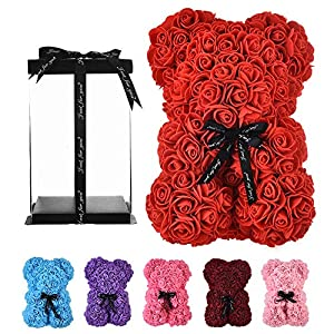 Silk Flower Arrangements Rose Bear red Rose Teddy Bear women gifts for mom gifts birthday girlfriend gifts for her ,Teddy Bear flower Rose flowers bear for Anniversary Wedding Birthday Mothers Day Etc - w/Clear Gift Box (red)