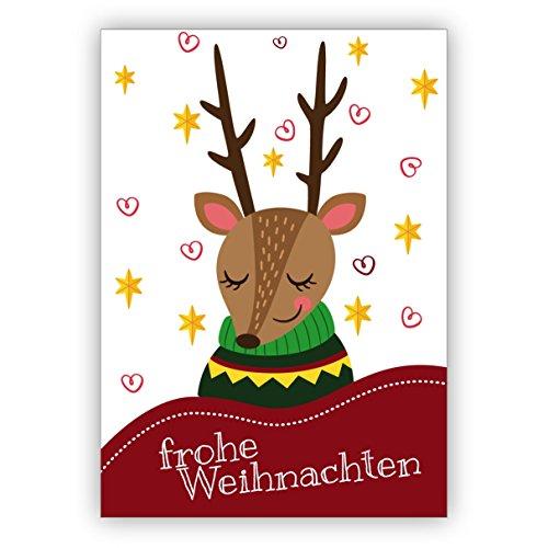 16x Süße Weihnachtskarte mit illustriertem Rentier im Pullover: frohe Weihnachten • weihnachtliches Grußkarten zu Weihnachten, Neujahr, Silvester für Familie, Freunde, Firmen Kollegen