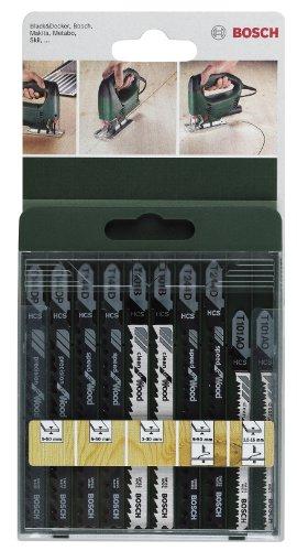 Bosch 2 609 256 744 - Juego de hojas de sierra de calar de 10 piezas vástago en...