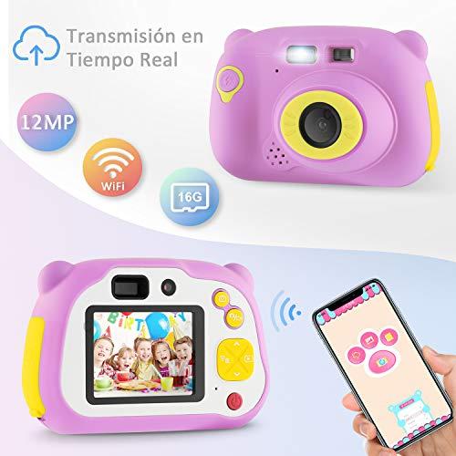 YISSVIC Cámara Digital para Niños HD 12MP 1080P con Tarjeta TF 16G Doble Objetivo Video Cámara para Infantil con Prueba de Golpes Carcasa de Silicona Función de WiFi Compartido y Enfoque Automático