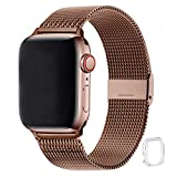 WFEAGL コンパチブル apple watch バンド, コンパチブルiWatch通用ベルト apple watch 6/5/4/3/2/1, SEに対応 交換ベルトステンレス製(38mm 40mm, コーヒーの金色)