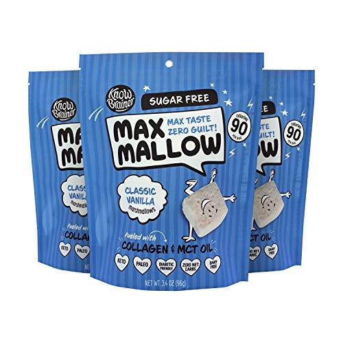 Know Brainer Max Mallow Classic Vanilla Zero Sugar Marshmallows Pack of 3