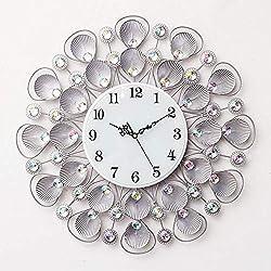 3D Metal Wall Clock With Shell Design Diamond Rhinestone