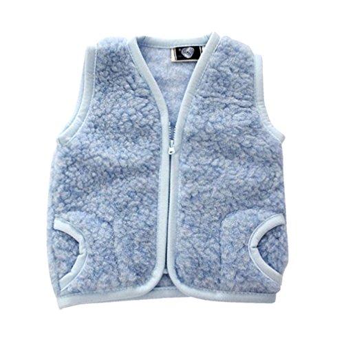 Kinderweste Baby Weste 100% Merino Wolle Schafswolle blau Gr. 6-8 Jahre
