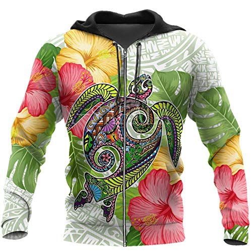 Fall In The Wave Polynesian 3D Print Hoodie Hombre Mujer Harajuku Outwear Zipper Pullover Sudadera 3D Zipper...