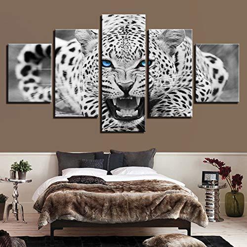 FGVBWE4R Lienzo de Pintura Abstracta Wall Art Framework 5 Piezas Ojos Azules leopardos Blancos Cuadros Decorativos modulares para Sala de Estar Impresiones-XL