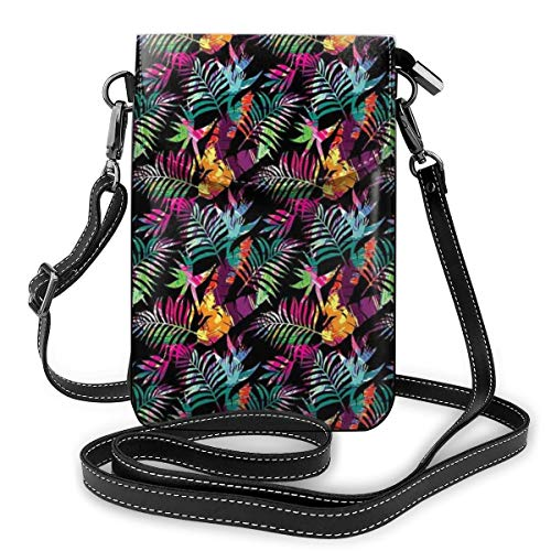 Jiger Women Small Cell Phone Purse Crossbody,Paradise Woodland Composition With Blossoming Flowers And Foliage Leaves Colorful