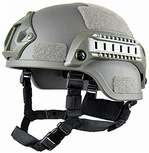 SKYWPOJU Casco táctico, Estilo Militar, Casco Protector para Airsoft Paintball, rápidamente Apto para Deportes al Aire Libre, Ciclismo de montaña, Ciclismo, CQB, Tiro (Color : Gray)