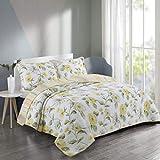 MYYINGBIN 230x250cm Baumwolle Tagesdecke Gittermuster Bedruckte Patchworkdecke Mit 2 Umkehrbaren Bettbezügen, 230x250cm