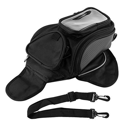 Qiilu Bolsa de tanque de motocicleta, bolsa de tanque magnética universal, soporte de teléfono GPS con pantalla táctil impermeable para montar en motocicleta