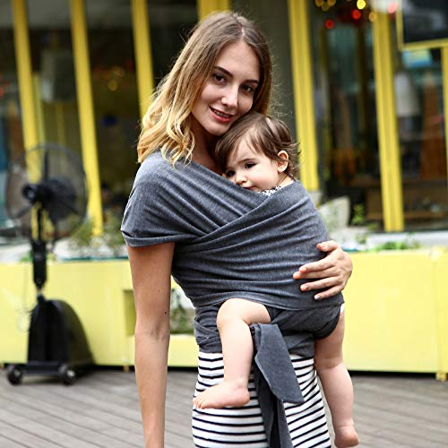 Baby Wrap Carrier All-in-1 Stretchy Baby Wraps Eslingas y envolturas para bebés especializadas para bebés y recién nacidos (Black Gray)