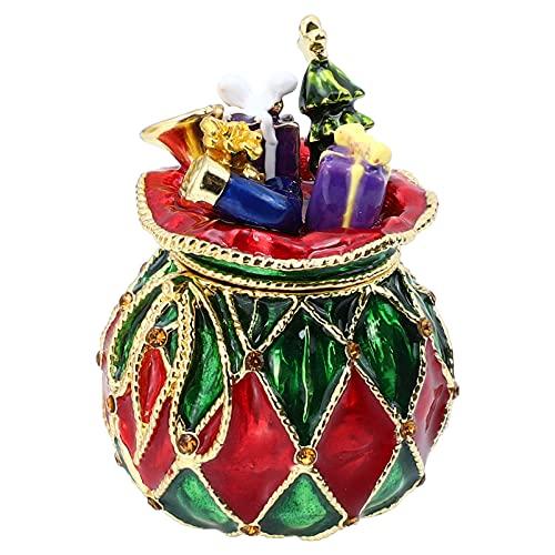 Happyyami Caja de Baratijas de Navidad Pintada a Mano Esmaltada con Bisagras Caja de Joyería Decorativa de Regalo Caja de Soporte de Anillo de Joyería de Navidad Mesa DE Navidad Centros de