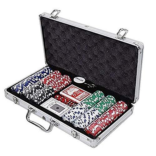 AILSAYA Poker Traje, 300 Juegos De Casino Auténticos Juegos De Mesa De Póquer para Principiantes con Caja De Aluminio,300
