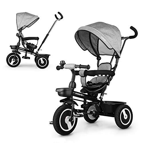 Fascol Dreirad Kinderwagen 7 in 1 Kinderdreirad mit 360° Drehsitz Dreirad mit Schubstange Sonnendach Kinder Fahrrad mit FlüSterleise Gummireifen für Kinder ab 12 Monate -5 Jahre, Grau