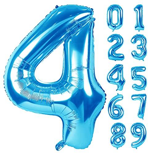 Foil Palloncini Numeri 4 Blu, 101 CM Palloncino Numero 4 Gigante in Foil Elio Pallone per Anniversario, Decorazione Feste di Compleanno Palloncino