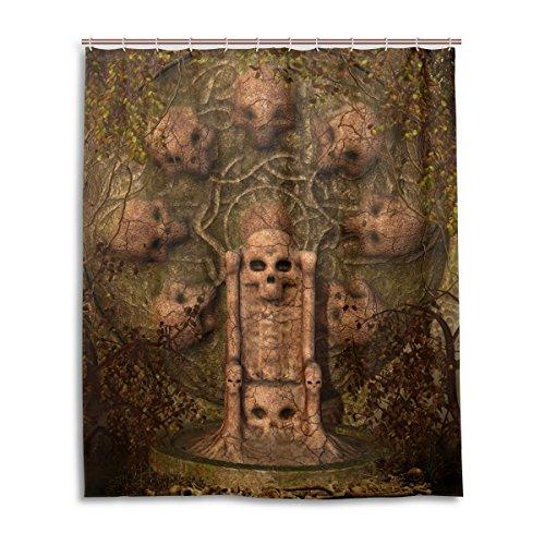 Bad Vorhang für die Dusche 152,4x 182,9cm Dark Gothic Totenkopf Grabstein Welken Blätter Polyester-Schimmelfest-Badezimmer Vorhang
