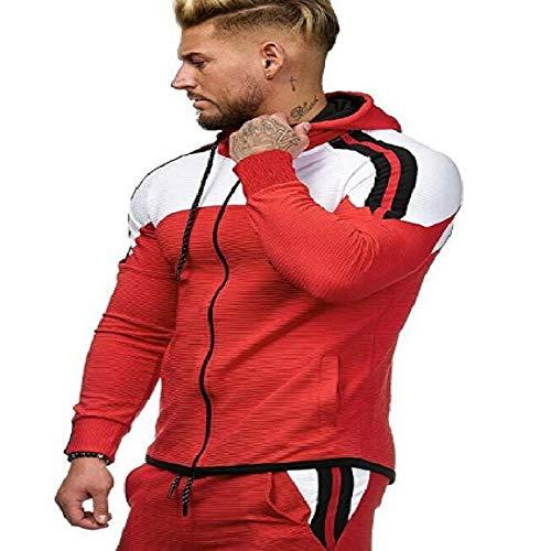 HOSD para con suéter Casual Hombre Capucha de Deportivo Chaqueta a Talla Grande de Juego a Color Rayas de