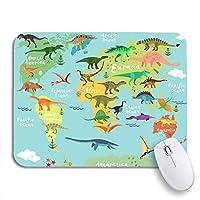 ECOMAOMI 可愛いマウスパッド 子供のための世界のかわいい恐竜地図滑り止めラバーバッキングコンピュータマウスパッドノートブックマウスマット