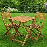 Conjunto de muebles de jardín de 3 piezas, 2 sillas + 1 mesa, de madera, plegable, resistente a la intemperie, para jardín, balcón, terraza (mesa rectangular)