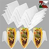 GAINWELL Taco Holders Plastic Set of 4, Microwave Dishwasher Safe, White Non Toxic BPA Free Rack