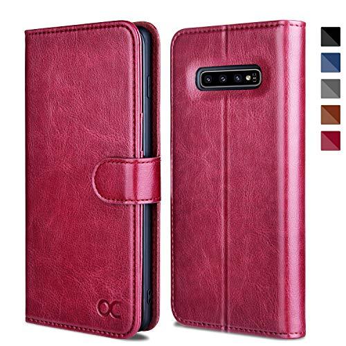 OCASE Hülle für Samsung Galaxy S10+ Plus Handyhülle [Standfunktion] [Kartenfach] [Magnetverschluss] Schlanke Leder Brieftasche Hülle für Samsung Galaxy S10 Plus Burg&y