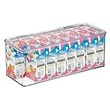 mDesign Caja de plástico con tapa – Caja de almacenaje para estantes de cocina, despensa o frigorífico – Organizador de nevera apilable para aperitivos, pasta, fruta, etc. – transparente