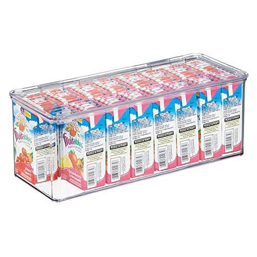 mDesign Scatola con coperchio per frigorifero e cucina – Organizer portaoggetti per ripiani e dispense – Scatola in plastica ideale per tè, caffè, snack e vari cibi confezionati – trasparente