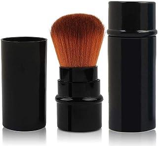 Due To メイクブラシ 化粧筆 携帯 携帯用 ミニ パウダーブラシ コンパクト 持ち運び スライド式 (ブラック)