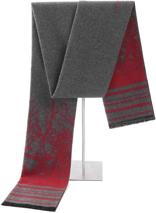 Udol Scarf Warm Winter Scarf Comfortable and Practical Men's Winter Scarves Wool Scarf Winter Scarf Elegant Gift Party Tassels Size j1016 (Color : Red+Grey)