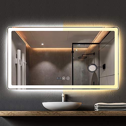 WWWRL Espejo de Pared LED para baño Inteligente/Luz de Doble Color / 60x80 cm/Espejo de vanidad de iluminación, Interruptor de Control táctil (A/B/C/D, Diferentes Funciones) - Horizontal
