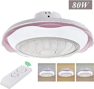 ZMLG Ventilador de Techo con Luz y Mando a Distancia Infantil 3 Colores Regulables Lámpara de Techo Ventilador Silencioso Velocidad del Viento Ajustable Fan APP Temporizador,Ø52CM,80W,Rosado